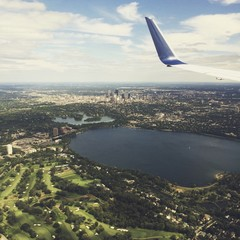 Looking out an airplane window while flying over Minneapolis, Minnesota