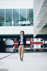 Young businessman going to work