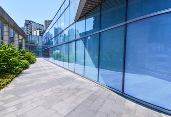 Glass curtain wall of modern office building Fototapete