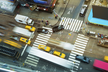 Traffic Motion on Broadway at Times Square New York