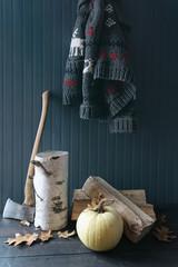 Axe, firewood and pumpkin