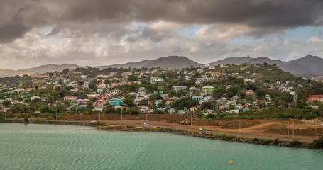 Panoramic view of St. John's, Antigua and Barbudas capital city, Caribbean.