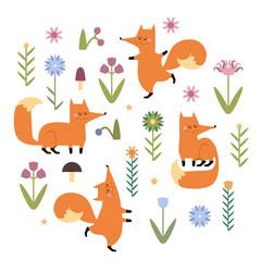 Cute vector foxes