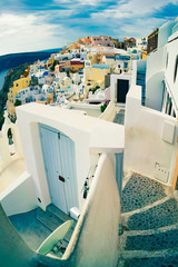 Stairs in the town of Oia, Santorini Island, Greece