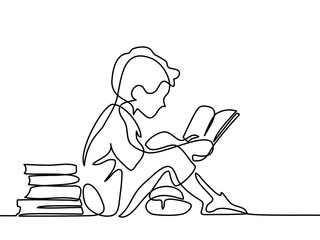 Boy studing with reading book. Back to school concept. Continuous line drawing. Vector illustration on white background