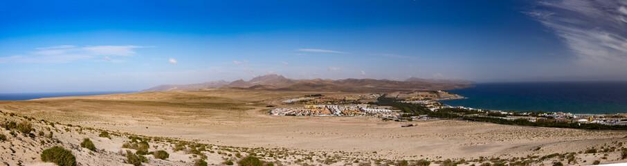 Panorama of the island of Fuerteventura in the area of the Costa Calma
