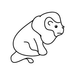 Contour lion on white background, vector illustration