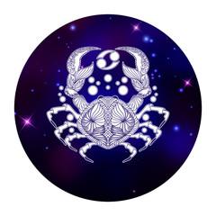 Cancer zodiac sign, horoscope symbol, vector illustration