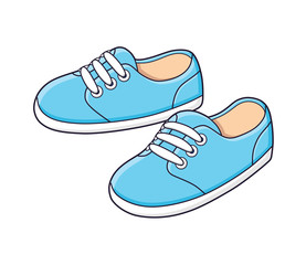 Blue sneakers vector isolated.