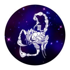 Scorpio zodiac sign, horoscope symbol, vector illustration