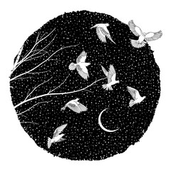 Artistic ink illustration of white doves flying at night
