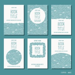 Waves and little paperboats - set of six hand drawn book cover templates