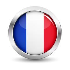 France Flag Icon Badge Vector Button