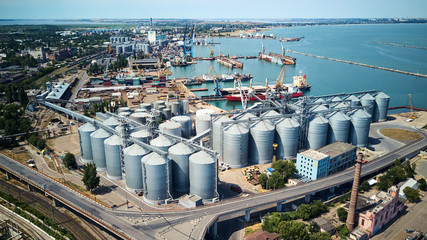 aerial view of wheat silos storage in sea port