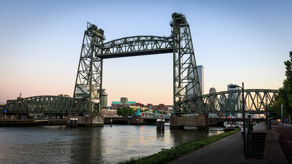 De Hef Bridge at sunset in Rotterdam in Netherlands