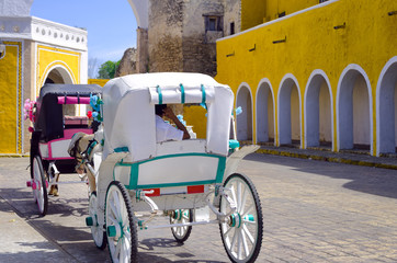 Fototapete - Carriages in the Street in Izamal