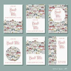 Colourful houses - set of six hand drawn book cover templates