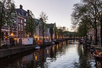 View of the Kloveniersburgwal street in the old town part of Amsterdam