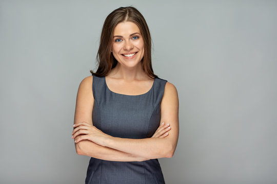Isolated portrait of smiling  business woman