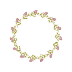 Vector botanical illustration with a wreath made of stylized leaves and clover flowers.