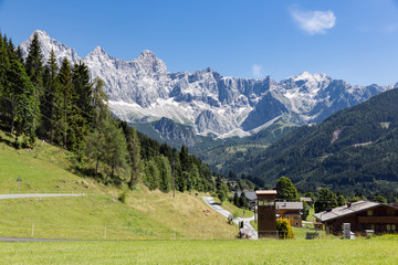 Panorama view at Austrian Dachstein mountains