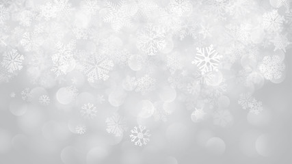 Christmas background of snowflakes with bokeh effect