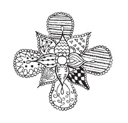 Zentangle stylized, flower, leafs, vector illustration, artistically drawn, freehand