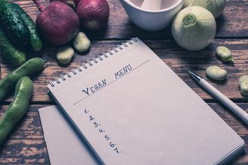 Notebook, Vegan menu