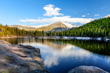 Bear Lake in the Rocky Mountain National Park in Colorado, is magnificent::clear, serene, cold,