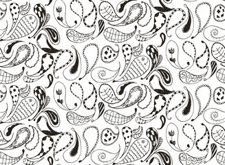 Seamless pattern doodles, zentangle, vector, illustration, freehand pencil. Anti stress coloring book for adults and kids.