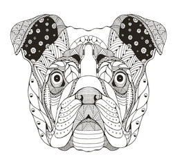English bulldog head zentangle stylized, vector, illustration, pattern. Anti stress coloring book for adults and kids.