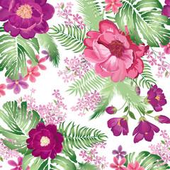 Floral pattern. Flower bouquet spring garden background.