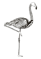 Flamingo zentangle stylized, vector, illustration, freehand pencil, hand drawn, pattern. Anti stress coloring book for adults and kids. One leg standing.