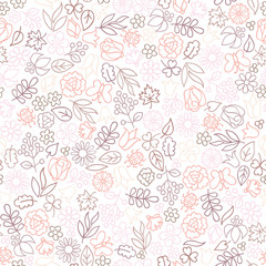 Flower icon seamless pattern. Floral leaves and flowers white texture