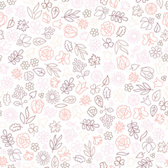 Flower icon seamless pattern. Floral leaves, flowers. Summer Nature white texture