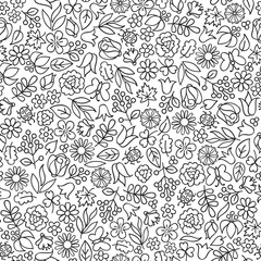 Flower icon seamless pattern. Floral leaves, flowers, berry nature white texture