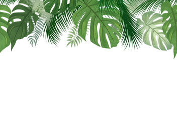 Floral seamless pattern. Tropical leaf background. Palm tree leaves summer nature border