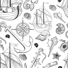 Marine life seamless pattern. Sailing ship, Seashell, anchor, boat pirate adventure background