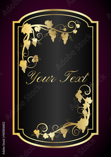 Wine Label Template For Wine In Black And Gold Stock Image And