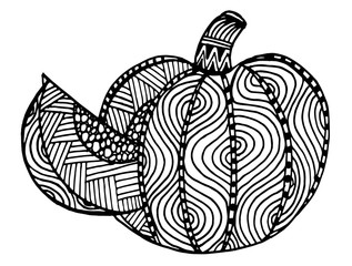 Hand drawn, black and white ornamental pumpkin. Could be use for coloring book in zentangle style