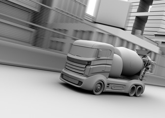 3D clay render of concrete mixer. 3D rendering image.