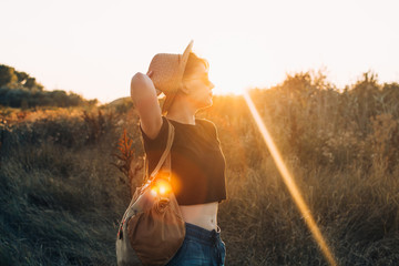 Hippie young woman enjoy life in the nature