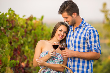 Young couple in beautiful vineyard toasting with  wine
