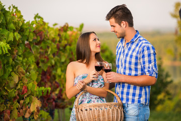 Happy young couple toasting glasses of wine outdoors