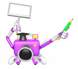 The left hand Holding the board Doctor Purple Camera Character. The right hand grasp pencil. Create 3D Camera Robot Series.