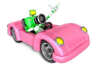 Driving a Pink Convertible car in green camera Character. Create 3D Camera Robot Series.