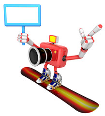 Red Camera Character snowboard a riding. Create 3D Camera Robot Series.