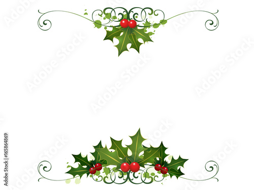 Christmas Card Border.Holly Christmas Card Border Stock Photo And Royalty Free