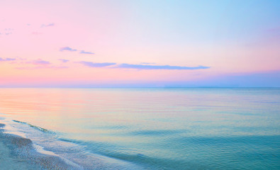 Colorful sea beach sunrise.