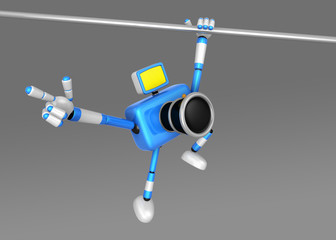 3D Blue Camera character a Powerful Chin up Exercise. Create 3D Camera Robot Series.